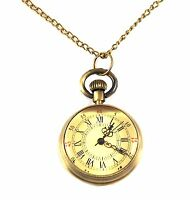 Mini Pocket Watch Necklace on Chain Brass Steampunk Victorian Style