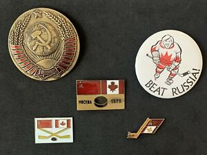 1972 🏒 Summit In 1972 Authentic Participant Pin Badge + 4 Authentic Pins
