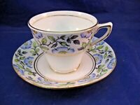 ROSINA BONE CHINA TEA CUP AND SAUCER - FLOWERS OF BLUE & YELLOW  MADE IN ENGLAND
