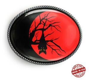 Vampire Bat Halloween Moon Silhouette Handmade Belt Buckle