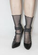 Black net with lace ankle socks and glitter