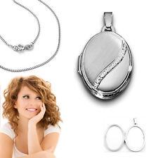 Frauen Weißgold 375 Medaillon Amulett für 2 Bilder Anhänger mit Kette Silber 925