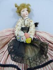 Superb 1930s 12.5'' boudoir doll in Lenci style with felt flowers