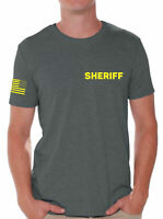 Sheriff Tshirt with Flag on Sleeve Men's Police Shirt Duty Style Tshirt for Men