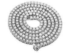 """10K White Gold Prong One Row Genuine Diamond 5MM Tennis Chain Necklace 37CT 28"""""""