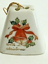 "Vtg Christmas Ornament Ceramic 1.5""T Cow Bell Holly Decorated Bell Ribbon Japan"