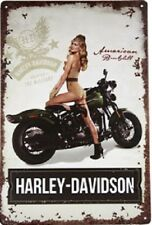 New Harley-Davidson Metal Tin Sign Sexy Lady Pin Up Girl American Retro Motor