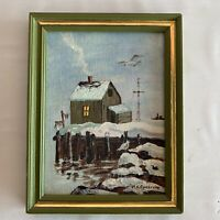 Vintage MCM Oil Painting Ocean Shore Seagull Winter Wharf Avocado Green Frame 77