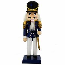 Wooden Nutcracker Soldier Doll with Traditional Blue Jacket Gold Details 10 Inch