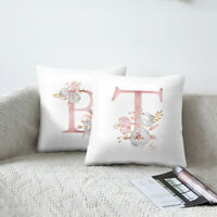 2019 Letter Pink Floral Printing Pillow Case Throw Cushion Cover Sofa Home Decor