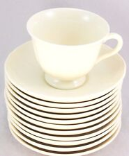 10 SETS WEDGWOOD BONE CHINA #502218 QUEENS SHAPE FOOTED CUPS & SAUCERS OFF WHITE