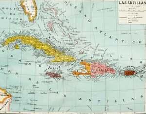 1900 Antique map of THE ANTILLES ISLANDS: Jamaica, Puerto Rico, Cuba, Caribbean