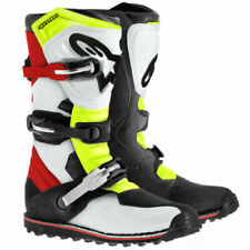 ALPINESTARS TECH-T TRIALS BOOTS - BLACK WHITE RED YELLOW MOTORCYCLE BOOTS UK 10