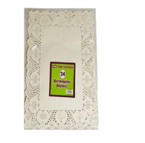 24 x Paper Party Doilies Doily Lace Doyleys Catering Wedding Rectangle tea Food