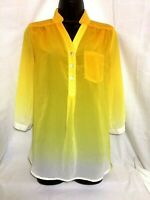 My Michelle Yellow Ombre Sheer Roll Tab Sleeve Shirt Blouse Womens Size S