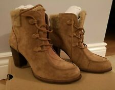 UGG W Analise High Heel Ankle Boots w/ Sheepskin (Size 9, Chestnut)