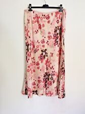 COUNTRY CASUALS PINK FLORAL PRINT SILK LONG SKIRT SIZE L +