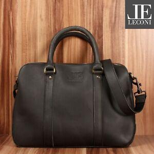 LECONI Damentasche Businesstasche Aktentasche Büffel-Leder schwarz LE3065