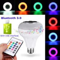 E27 12W RGB LED USB bluetooth Speaker Light Bulb Smart Music Player Lamp +Remote