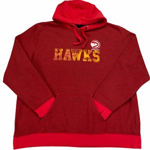 Atlanta Hawks Hoodie Sweatshirt Red 2XL Pullover Red Majestic Hardwood Classics