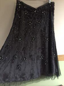 Ladies Pandemonium Black Grey Sequin Net Flowers Skirt Size 14