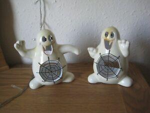 Halloween 2 x Ghost shaped Tea Lights with Cobweb Stomachs
