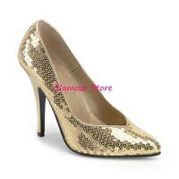 Sexy DECOLTE' PAILLETTES ORO tacco 13 dal 36 al 39 scarpe fashion GLAMOUR