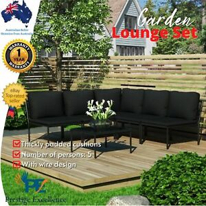 6pc Outdoor Lounge Setting Garden Furniture Sofa Patio Table Chairs w/ Cushions