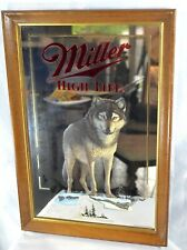 "Vintage ""The Timber Wolf"" • Wildlife Series MILLER HIGH LIFE • Mirror Sign"