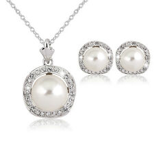 Fashion Jewelry gift Wedding  Silver Plated Crystal&Pearl Necklace Earring Set