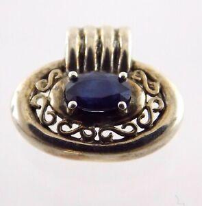 Ross Simons Sterling Silver Sapphire Slide Pendant Enhancer 925 Oval Blue Gem