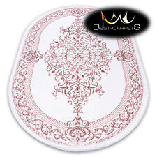 "SOFT AMAZING ACRYLIC RUGS ""DIZAYN"" 142 Oval ivory pink exclusive HIGH QUALITY"
