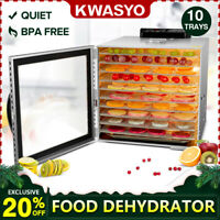 KWASYO Food Dehydrator - 10 Tray Stainless Steel - 165° F Jerky Safe - LED light