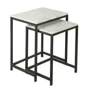 Set of 2 Stone and Iron Side Tables