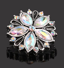 Aurora Borealis Crystal Flower Button Charm for Noosa Ginger Snaps Jewelry18mm