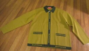 Supreme Logo Trim Zip Up Cardigan Size Medium Olive SS21 Supreme New York 2021