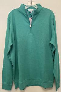 NWT Peter Millar Crown Comfort Green 1/4 Zip Pullover Sweater Men's Large $135.