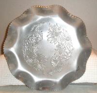 """Vintage Aluminum Tray Round 11""""  Etched Sunflowers Ruffle Edge"""