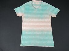 GUESS - V-NECK - HORIZONTAL STRIPES - SMALL - GREEN TO BEIGE OMBRE T-SHIRT- K327