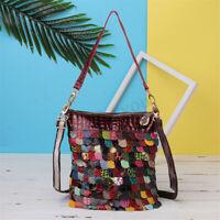 Women Genuine Leather Floral Handbag Crossbody Shoulder Bag Travel Bright
