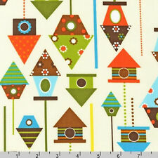 FAT QUARTER- BIRD HOUSE on Cream Urban Zoologie FABRIC AAK-11509-237 Bermuda