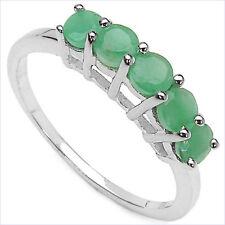 Smaragd (Emerald)-Ring-925/Silber-Rhodiniert-0,75 Karat