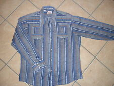 vtg PEARL SNAP WESTERN SHIRT Blue RAPPERS 70s 80s L
