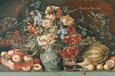 WALL JACQ. WOVEN TAPESTRY Flowers & Fruits EUROPEAN FLORAL PICTURE -KHRUTSKY ART