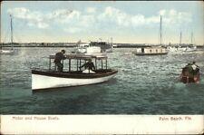 Palm Beach FL Motor & House Boats c1910 Postcard