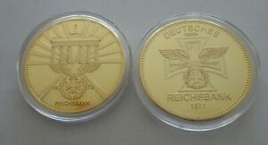 SET OF 2 German 24 kt gold plated   40 mm  coin #4S