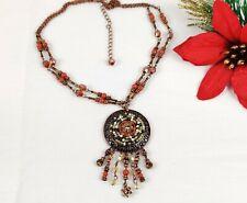 New AVON Earth Tone Fringe Pendant Necklace Red Brown Beaded Copper tn Boho NIB