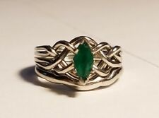 Marquise-Cut Emerald Celtic Puzzle Engagement Ring & Wedding Band in Palladium