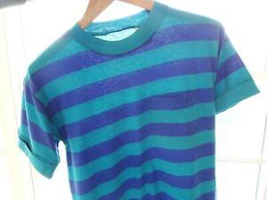 S/M Vtg 90s Blue Teal Striped Distressed Skate Surf Grunge Boxy 65/35 T-Shirt