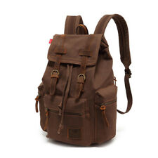 Mens Lady Vintage Canvas Backpack School Bag Satchel Rucksack Travel Camping Bag